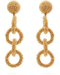 Oscar de la Renta - Bead-embellished Drop Earrings - Lyst