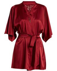 Fleur Of England - Lace-detail Silk-blend Short Robe - Lyst
