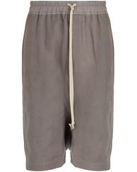Rick Owens - Pod Cotton, Linen And Wool Blend Shorts - Lyst