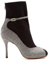 Charlotte Olympia - Incognito Hound's-tooth Suede And Wool Boots - Lyst