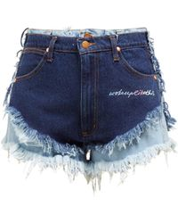 Natasha Zinko - Double Layer Frayed Denim Shorts - Lyst