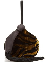 Hillier Bartley - Lantern Tasseled Zebra Print Velvet Clutch - Lyst