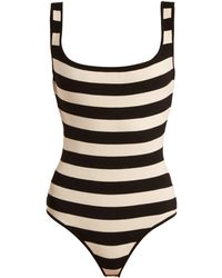 Khaite - Teresa Striped Square-neck Stretch-knit Bodysuit - Lyst