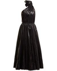 CALVIN KLEIN 205W39NYC Tie Neck Nylon A Line Dress - Black