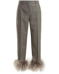 Prada | Feather-trimmed Wool-blend Trousers | Lyst