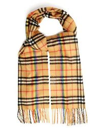 Burberry - Classic Rainbow Vintage Check Cashmere Scarf - Lyst