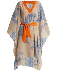 Fendi - Ramage Floral-print Tie-waist Silk-crepe Kaftan - Lyst