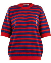Givenchy - Logo Print Striped Cotton Blend Sweater - Lyst