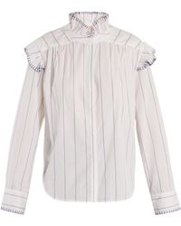Bliss and Mischief - Blanket-stitch Striped Cotton Shirt - Lyst