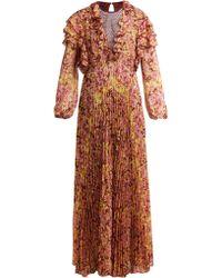 Giambattista Valli - Pleated Floral Print Silk Dress - Lyst