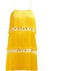 Sara Battaglia - Fringed Crystal Embellished Dress - Lyst