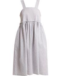 Shrimps - Lucia Strappy Seersuker Cotton-blend Dress - Lyst