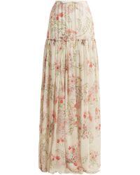 Giambattista Valli - Lily Of The Valley-print Silk-georgette Skirt - Lyst