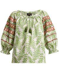 Saloni - Polly Fern-print Cotton Top - Lyst