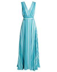 Cheap Big Sale Scorpio One-shoulder Silk-blend Jacquard And Chiffon Maxi Dress - Blue Zeus + Dione Free Shipping Nicekicks Cheap Sale Marketable 7k532C7HDg