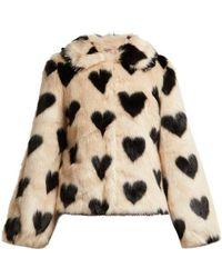 Shrimps - Cullen Heart Print Faux Fur Jacket - Lyst