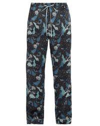 Meng - Decorative Floral-print Silk-satin Pyjama Trousers - Lyst