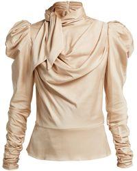 Zimmermann - Fleeting Tie Neck Silk Blend Blouse - Lyst