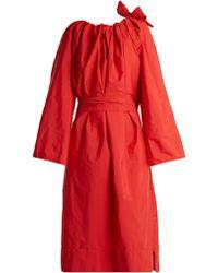 Maison Rabih Kayrouz - Tie-neck Gathered Paper-taffeta Dress - Lyst