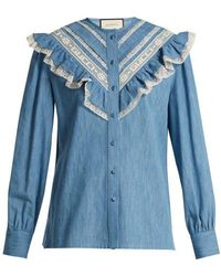 Gucci - Lace-trimmed Ruffle Cotton-chambray Blouse - Lyst