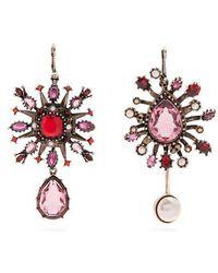 Alexander McQueen - Crystal-embellished Asymmetric Earrings - Lyst