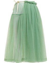 Molly Goddard Lettie Gingham Tulle Wrap Midi Skirt - Green