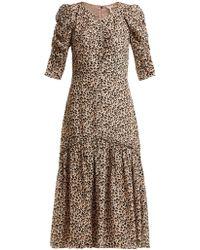 Rebecca Taylor - Leopard Print Ruched Silk Dress - Lyst
