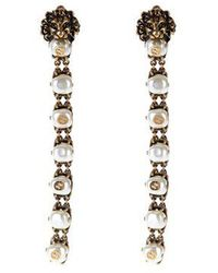 Gucci - Pearl-effect Embellished Lion Earrings - Lyst