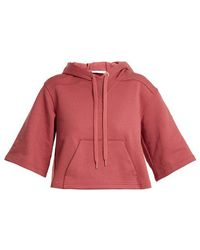 See By Chloé - Cropped Cotton-jersey Hooded Sweatshirt - Lyst