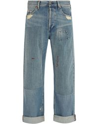 Gucci - Distressed Wide Leg Jeans - Lyst