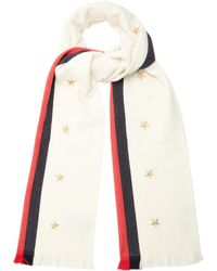Gucci | Star And Web-striped Wool-blend Scarf | Lyst