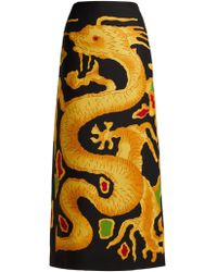 Valentino - Dragon-print Wool And Silk-blend Skirt - Lyst