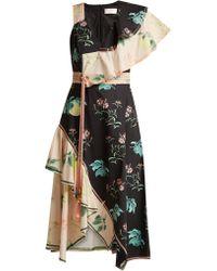 Peter Pilotto - One Shoulder Floral Print Cotton Dress - Lyst