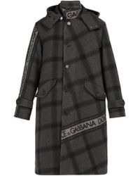 Dolce & Gabbana - Logo Print Checked Wool Blend Coat - Lyst
