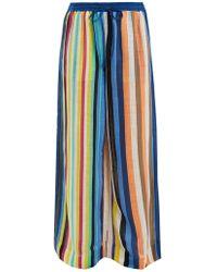 Diane von Furstenberg - Wide Leg Striped Linen Trousers - Lyst