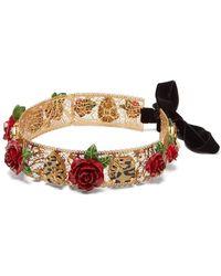 Dolce & Gabbana - Rose, Crystal And Leopard Print Headband - Lyst