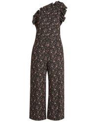 Rebecca Taylor - One-shoulder Floral-jacquard Jumpsuit - Lyst