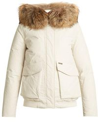 Woolrich - Military Fur-trimmed Down Bomber Jacket - Lyst