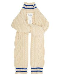 Maison Margiela - - Cable Knit Cricket Inspired Scarf - Womens - Beige - Lyst