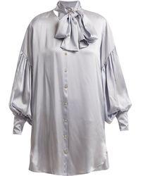 Hillier Bartley - Balloon-sleeve Oversized Silk Shirtdress - Lyst