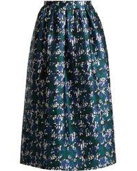 Oscar de la Renta - Abstract Floral-print Silk-mikado Skirt - Lyst