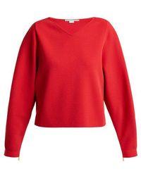 Stella McCartney - V-neck Step-hem Fine-knit Sweater - Lyst