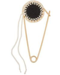 Loewe - - Meccano Gold Plated Brass And Leather Pin - Womens - Black - Lyst