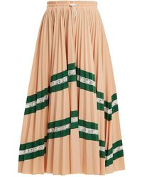 Valentino   High-rise Chevron-striped Pleated Jersey Skirt   Lyst