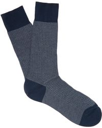 Pantherella - Fabian Herringbone Cotton Blend Socks - Lyst