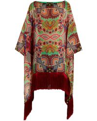 Etro - Graphic Floral-print Fringe-trimmed Silk Top - Lyst