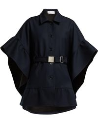 RED Valentino - Belted Twill Cape - Lyst