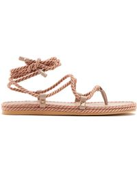 Valentino - Satin Rope Wraparound Sandals - Lyst