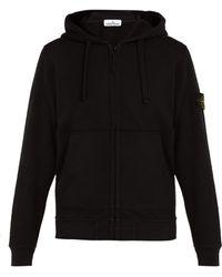 Stone Island - Zip Through Cotton Hooded Sweatshirt - Lyst