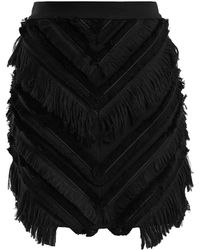 Balmain | Chevron-fringed Cotton-blend Mini Skirt | Lyst